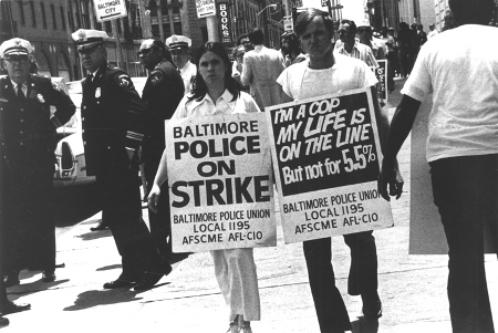 Baltimore Police officers on strike 1974