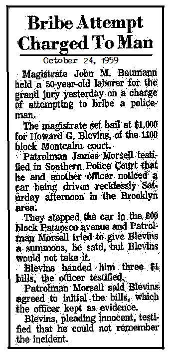 Bribe attempt Oct 1959