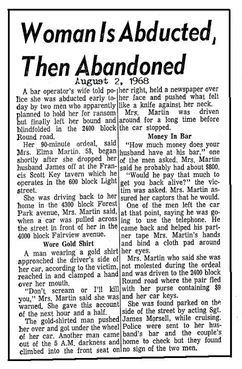 Woman Abducted Aug 2 1968