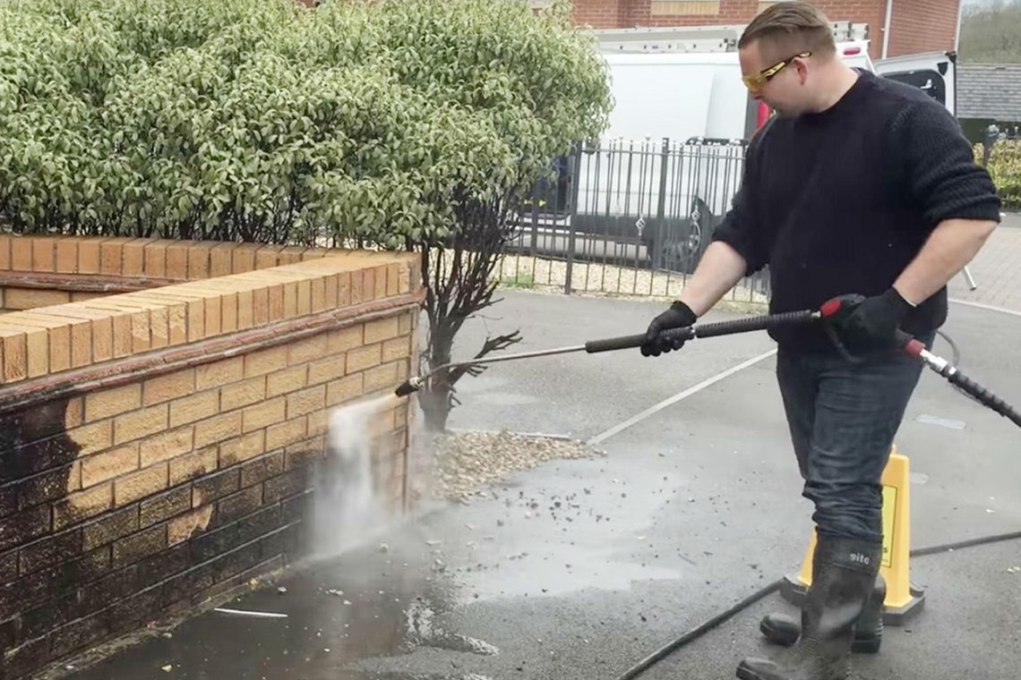 power washing house